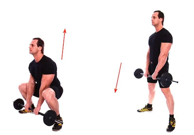 Становая тяга с прямой спиной (в стиле сумо) с гантелями