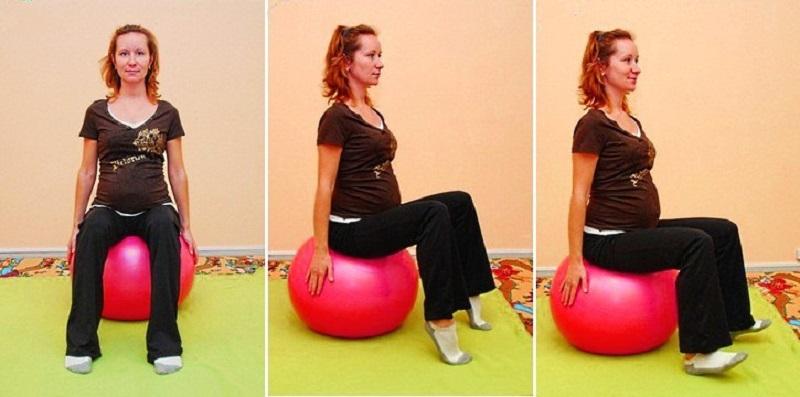 Упражнение №1 с фитболом для беременных