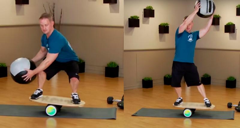 Баланс борд: упражнения — Диагональные подъемы с медболом.